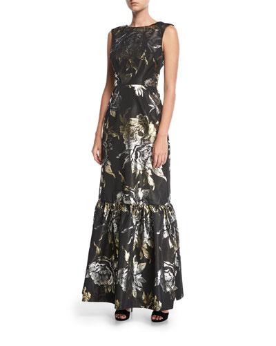 Metallic Rose Long Jacquard Evening Gown