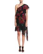 One-Shoulder Asymmetric Chiffon Floral Dress