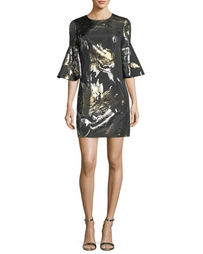 Bell-Sleeve Metallic Rose Jacquard Cocktail Dress