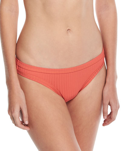 Inka Ribbed Hipster Swim Bikini Bottom, Orange from ASOS