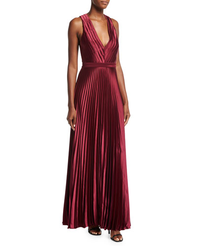 Arlyn Sleeveless V-Neck Satin Evening Gown