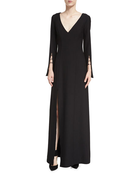 ZAC Zac Posen Paula V-Neck High-Slit Evening Gown