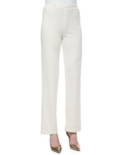 Knit Flat-Front Straight-Leg Pants, Petite