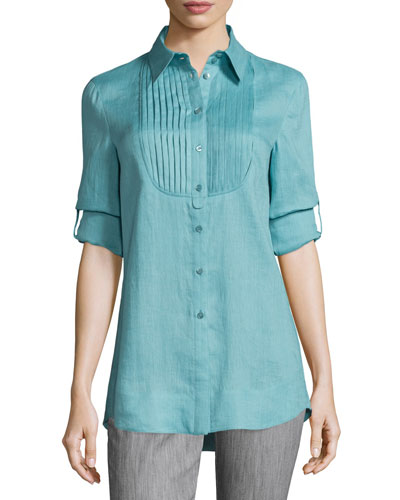 Long-Sleeve Pleated-Bib Tunic, Nile Green