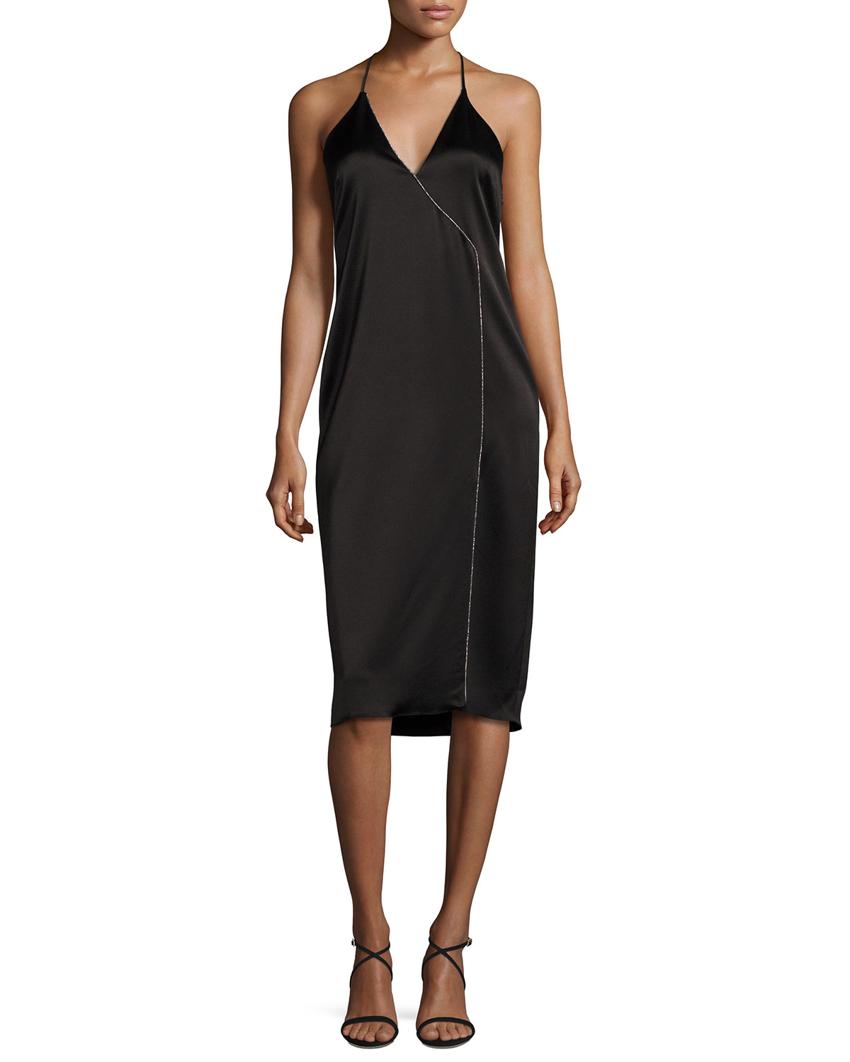 Sleeveless Strappy Satin Cocktail Dress, Black