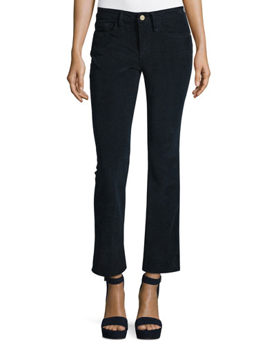 Le Crop Mini Boot-Cut Corduroy Pants, Deep Blue Dive
