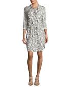 Kalahari Button-Front Zebra-Print Beach Shirtdress