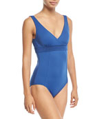 Wrap-Front Maillot One-Piece Swimsuit