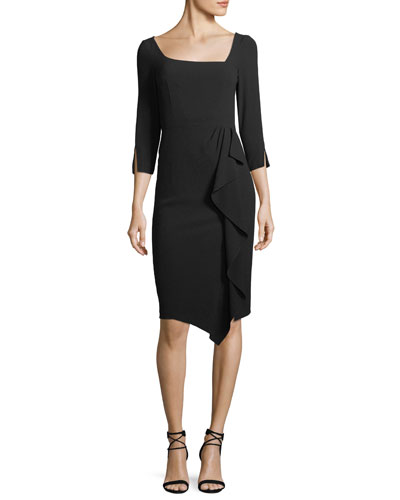 Can Can Asymmetric 3/4-Sleeve Dress