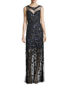 Augenie Sleeveless Illusion Floral Appliqué Gown