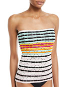 Strapless Striped Knit Swim Top