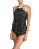 Adele High-Neck Crochet Tankini Swim Top
