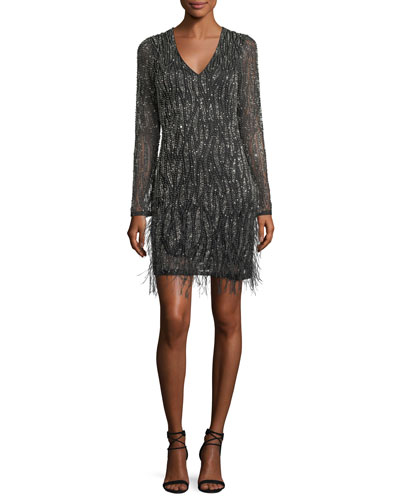 Gia Long-Sleeve Beaded Cocktail Dress w/ Feather Trim
