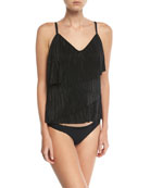 Chloe Pleats Please Layered Tankini Swim Top
