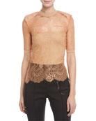 Short-Sleeve Crewneck Sheer Lace Top w/ Shoulder Pads