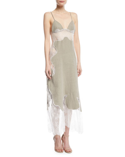 Linen Lace Slip Dress