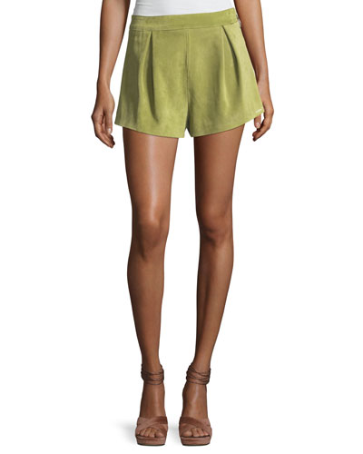 Pleated Suede Leather Side-Zip Shorts