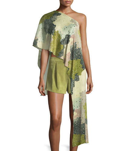 Floral-Print One-Shoulder Asymmetric Top