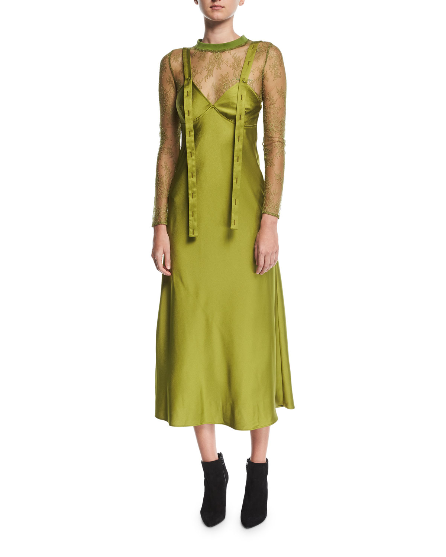 Crewneck Long-Sleeve Sheer Lace Bodysuit
