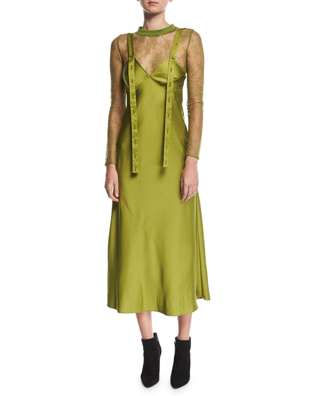V-Neck Sleeveless Satin Tank Dress