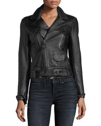 Garden-Embroidered Back Leather Biker Jacket