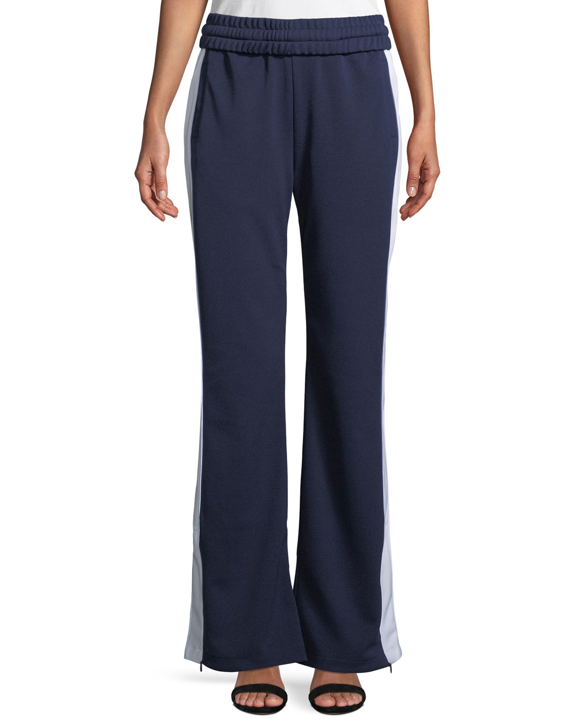 Pull-On Flared Side-Stripe Track Pants