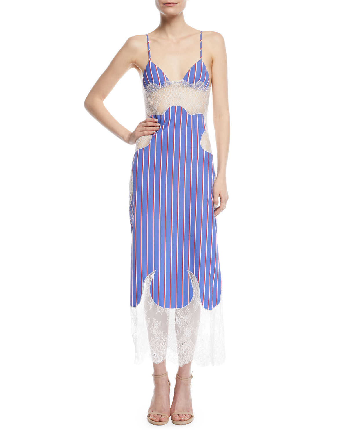 Striped Cotton and Lace Slip Dress