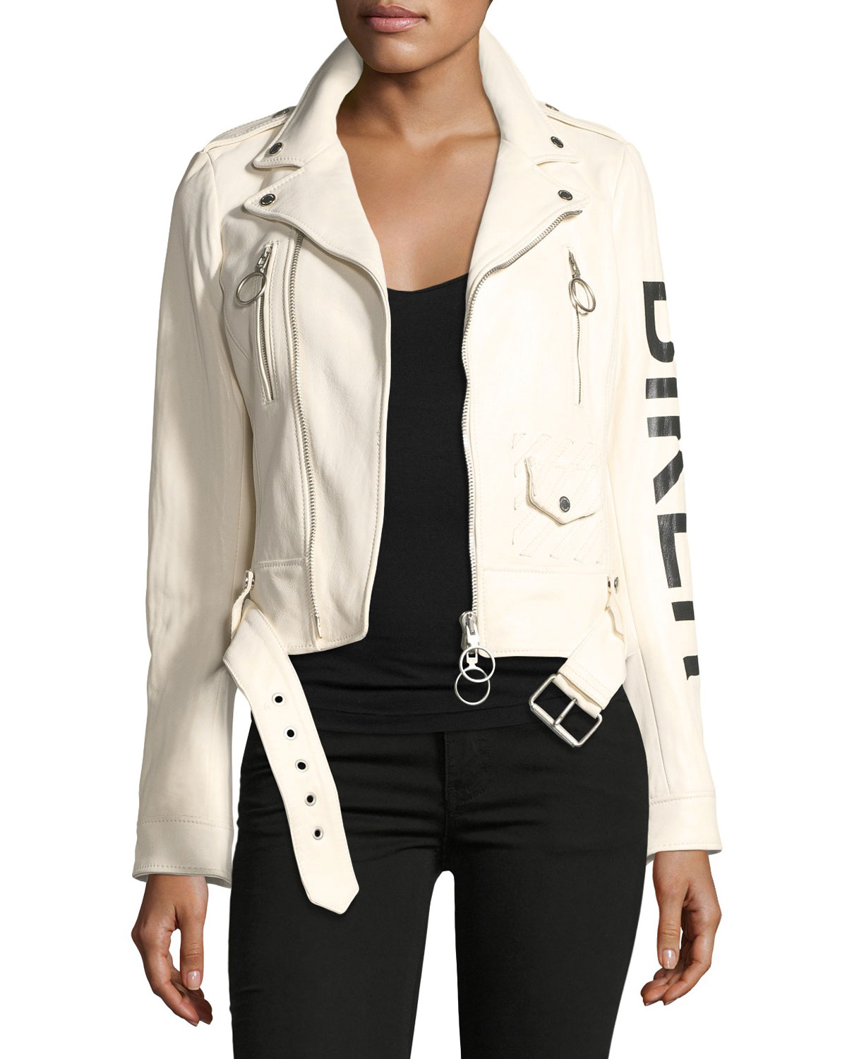 Leather Biker Jacket with Graphic