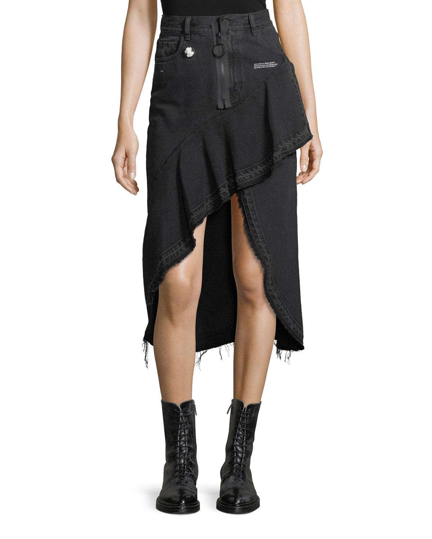 Asymmetric Denim Skirt with Raw-Edges