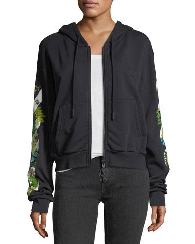 Embellished Graphic Zip-Front Crop Hoodie Sweatshirt