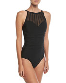 Anastasia High-Neck One-Piece Swimsuit w/ Mesh