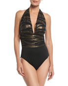 Shine On Yves Plunging Metallic One-Piece Swimsuit