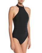 Ursula High-Neck Solid One-Piece Swimsuit