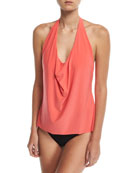 Sophie Solid Cowl-Neck Tankini Swim Top, Plus Size