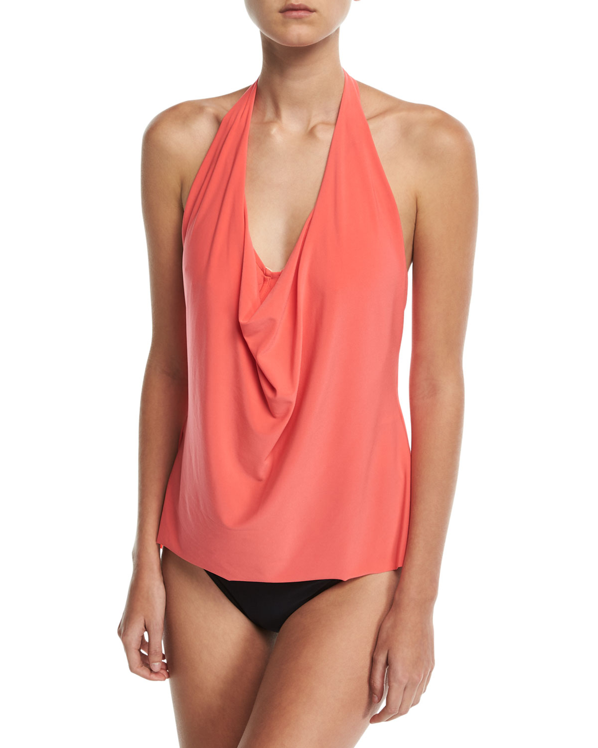 Sophie Solid Cowl-Neck Tankini Swim Top Plus Size