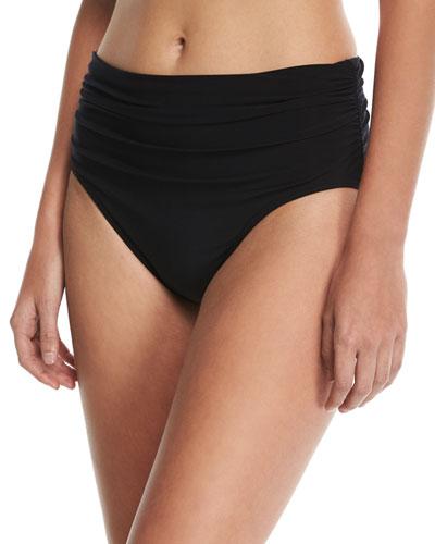 Plus Size Jersey Brief Swim Bikini Bottom w/ Shirring