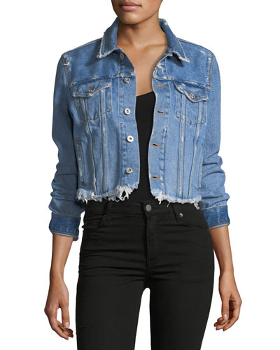 Flower-Shop Cropped Denim Jacket