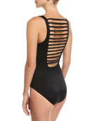 Steffi V-Neck Ladder-Back Solid One-Piece Swimsuit, Plus