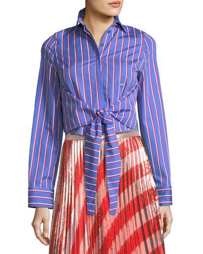 Pinstripe Ruffle-Back Tie-Front Shirt