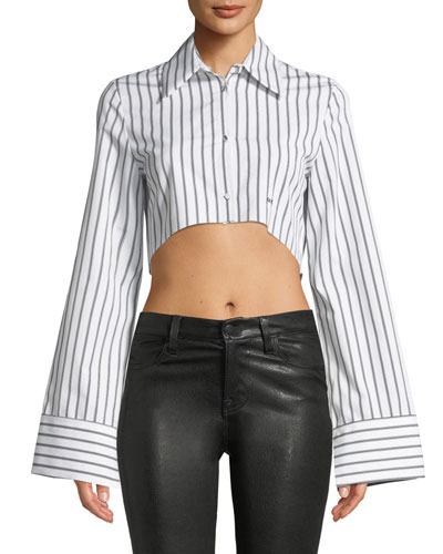 Button-Front Striped Cropped Shirt