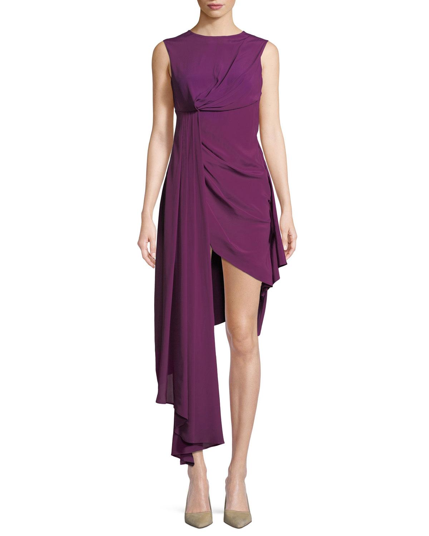 Sleeveless Draped Asymmetric High-Low Dress