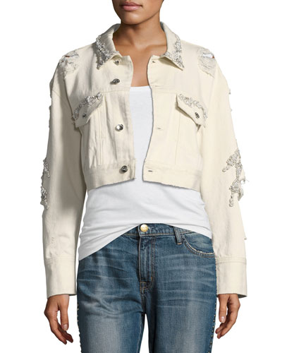 Embellished Button-Front Cropped Boyfriend Jacket