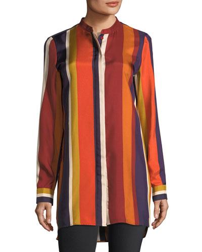 Brayden Striped Silk Blouse