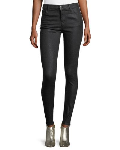 Maria Mid-Rise Skinny-Leg Coated Denim Jeans