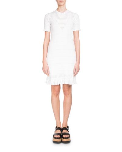 Short-Sleeve High-Neck Knit Dress with Flared Hem