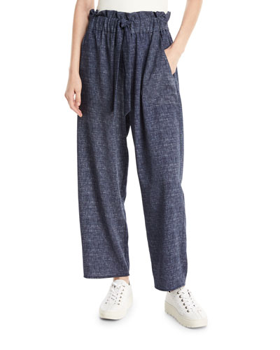 Kori Denim-Print Stretch Crepe Pants
