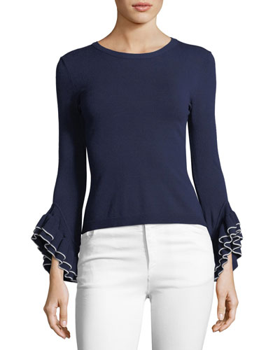 Layered Ruffle-Sleeve Pullover Top