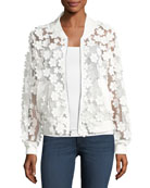 Floral Applique Bomber Jacket