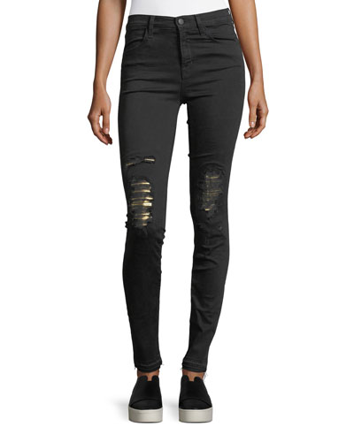Maria High-Rise Skinny-Leg Jeans w/ Distressed Metallic Knees