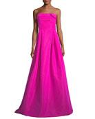 Rielle Silk Sleeveless Bustier Long Evening Gown